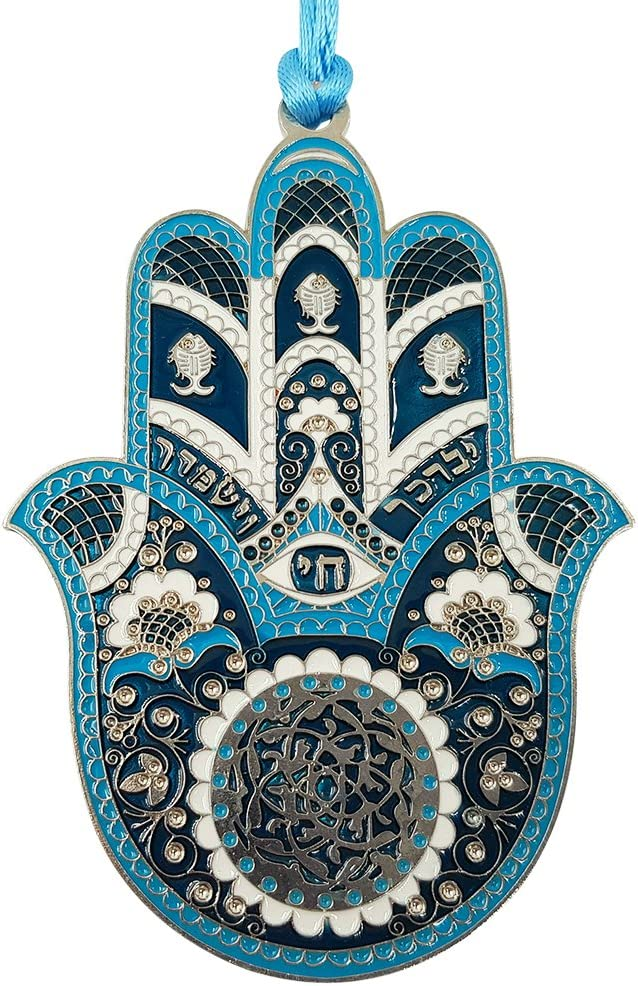 TALISMAN4U Blue Enamel Good Luck Hamsa Hand Wall Hanging Home Decor Hebrew Priestly Blessing Evil Eye Protection Gift 4