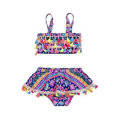 3577a03e49a2 Baby Girl Swimsuit 12-24month Two Piece Tankini Fringe Swimwear Beach Skirt  Set