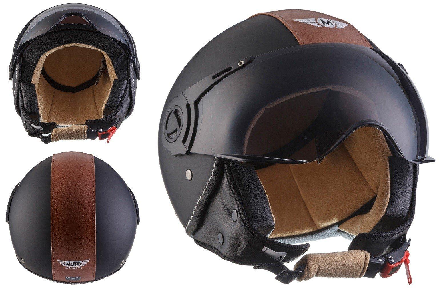 Moto Helmets H44 - Helmet Casco de Moto , Negro/Marrón, M (57