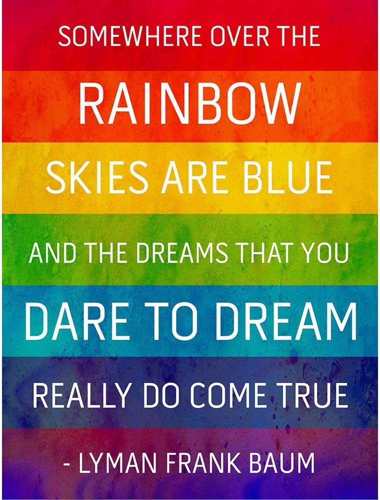 Wee Blue Coo Somewhere Over Rainbow Frank Baum Quote Typography Grunge Unframed Wall Art Print Poster Home Decor Premium