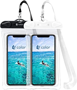 Waterproof Phone Pouch, F-color Universal Waterproof Phone Case PVC Dry Bag for Swimming Boating Skiing Rafting, Compatible with iPhone Xs Max XR 8 7 6S Plus Galaxy S8 7 Up to 6.7 inch, Black,Beige