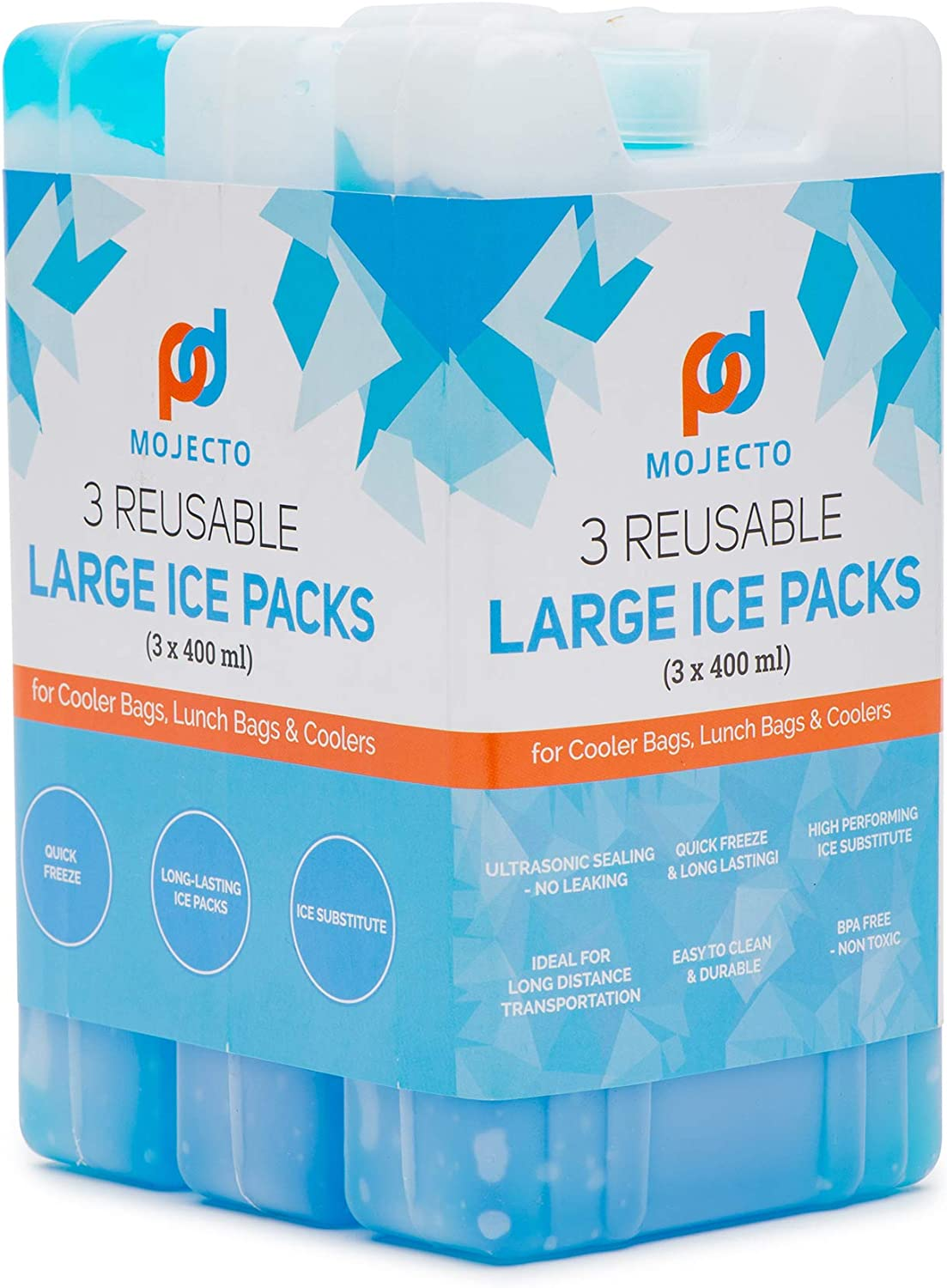 MOJECTO Large Thick Ice Pack for Cooler Lunch Bags: to Keep Your Food and Beverages Cold for Hours. Leak-Proof, Reusable, Long-Lasting, Freezer-Safe (Set of 3).