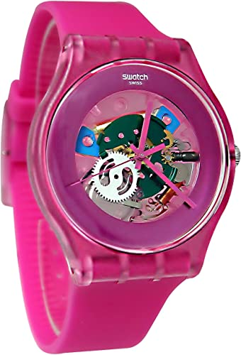 Amazon Com Swatch Suop100 Pink Lacquered Pink Dial Pink Plastic