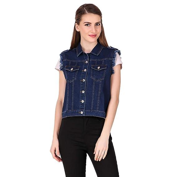 2821402cd48 Stylish and Trendy Sleeveless Dark Blue Denim Jacket for Women   Girls