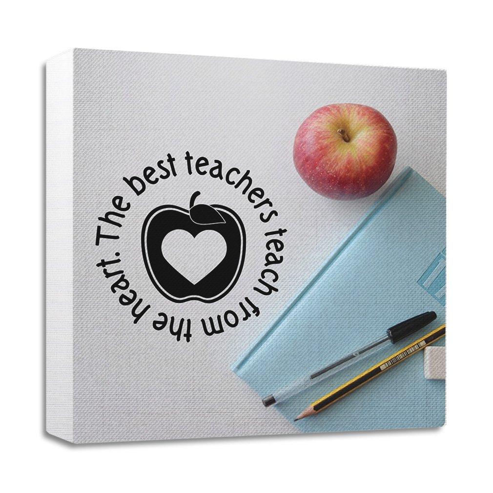 最高の教師byペン、pancle、とハートStrechedキャンバスラップフレーム 12
