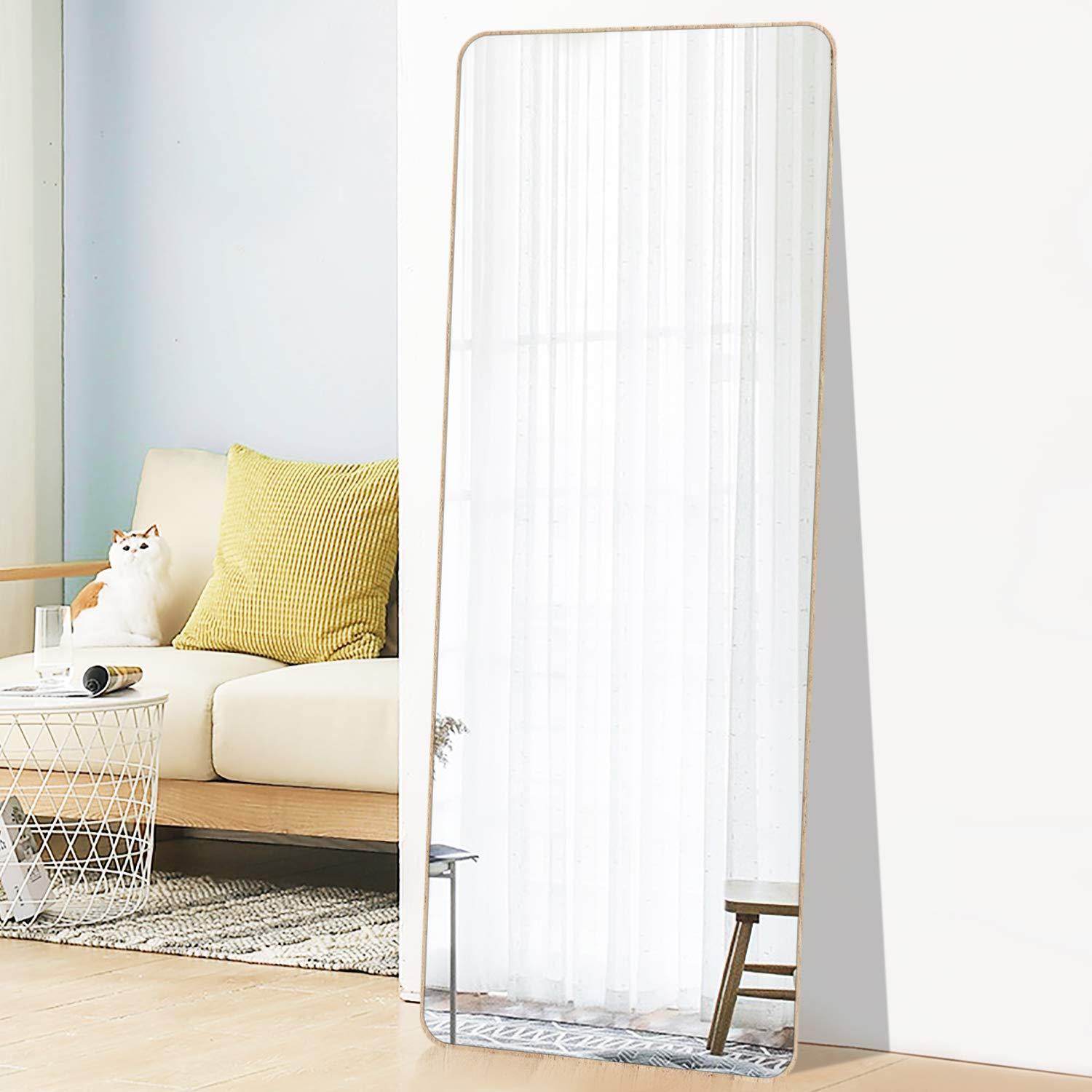 PexFix 65 x22 Full Length Floor Mirror Bedroom Dressing Mirror Standing or Hanging, Round Edge Design White