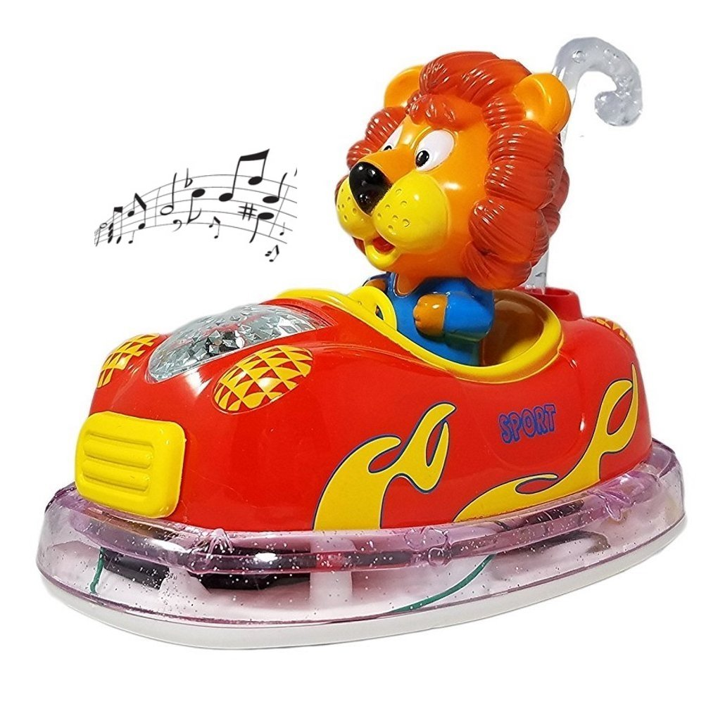 Haktoys ATS Bump & Go Kids' Favorite Animal Rider Bumper Car with Flashing LED Lights and Loud Sound | Toy for Toddlers, Kids, Boys and Girls | Safe and Durable | Lion or Tiger (Colors May Vary)