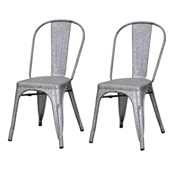 Joveco Sheet Metal Frame Tolix Antique Vintage Galvanized Distressed Style  Bar Chairs With Back   Set