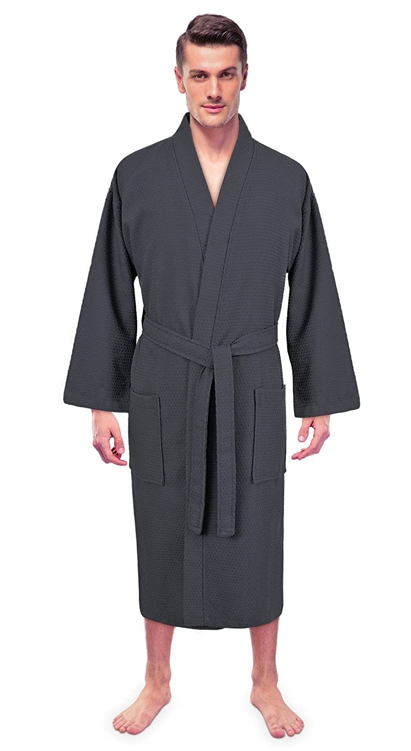 Turkuoise Men's 100% Premium Turkish Cotton Lightweight Spa Bathrobe Made in Turkey