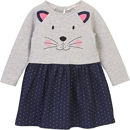 Beebay Baby Girls' Cotton Elastane Cat Applique Dress Girls' Dresses & Jumpsuits at amazon