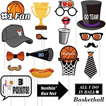 Amosfun 20PCS Basket Boop Photo Booth Props Kit Sports Photo Booth ...