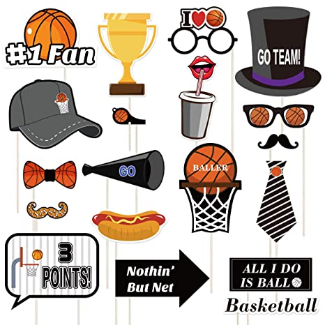 Amosfun 20PCS Basket Boop Photo Booth Props Kit Sports Photo Booth Props Decoración de Fiesta de Tema de Baloncesto Divertido para cumpleaños de ...