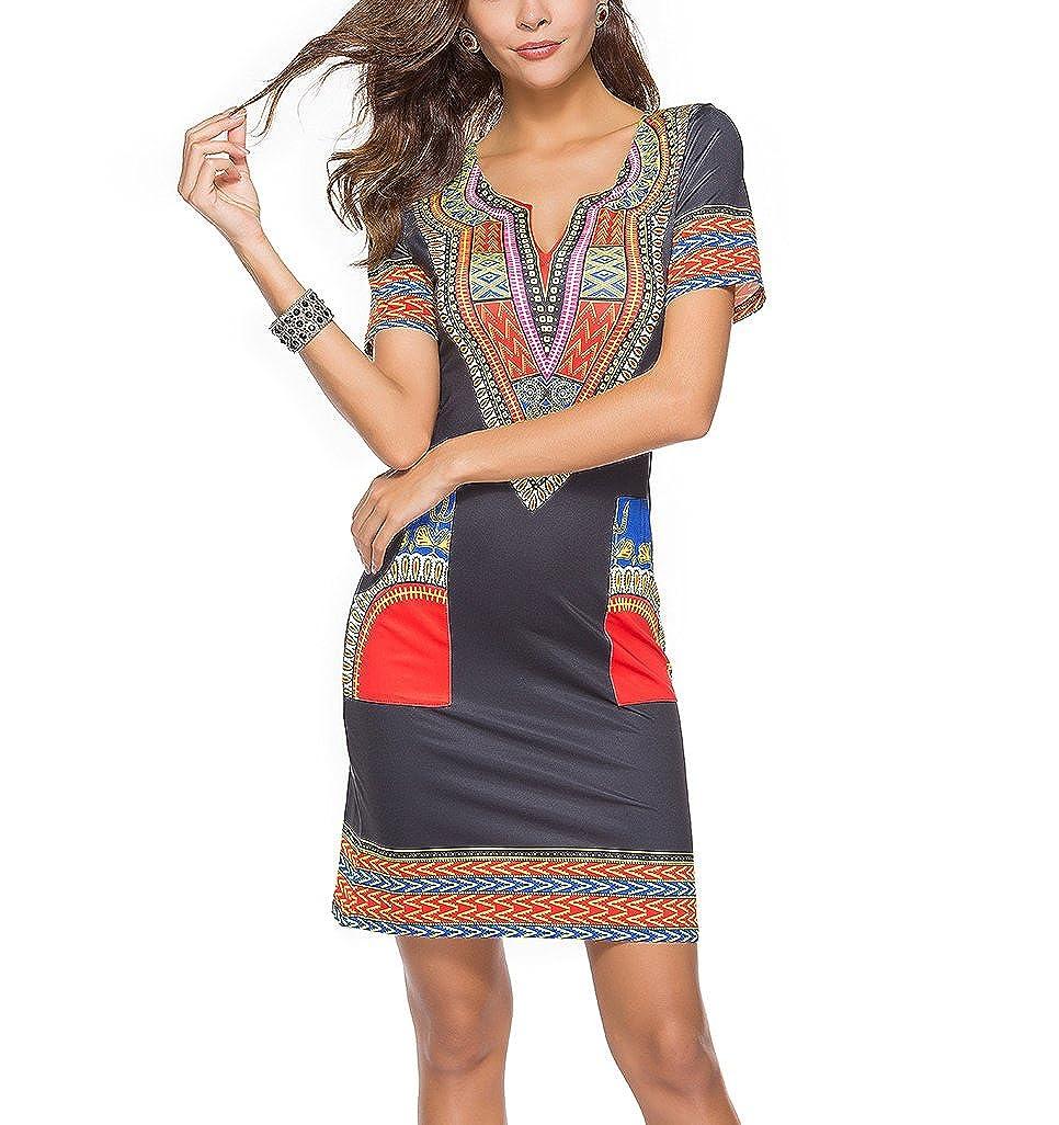 LaoZan Damen V-Ausschnitt Kurze Kleider Strandkleid Bohemian Blumenmuster Kurzarm Minikleid Tunika Sommerkleid