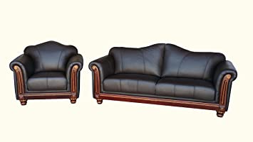 Amazonde Voll Leder Sofa Garnitur Kolonial Stil Polstermöbel