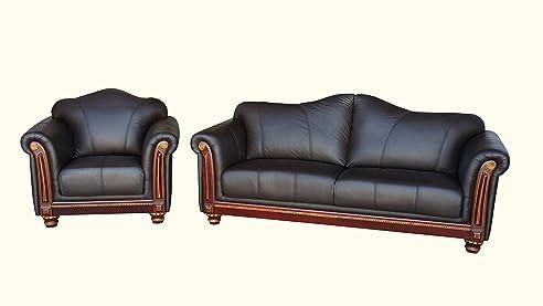 Amazon.de: Voll-Leder-Sofa-Garnitur Kolonial-Stil Polstermöbel ...