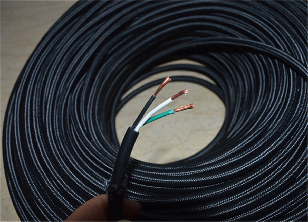 Fortunewill 10 Ft 3 Wire Black Cloth Covered Round Cord Wiring Vintage Lamps Lights Rayon Ul Certificated