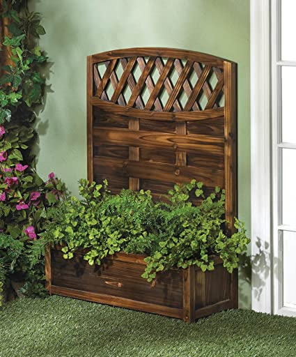 GHP 38u0026quot; Tall Wooden Trellis Planter Box Garden Wall Decoration