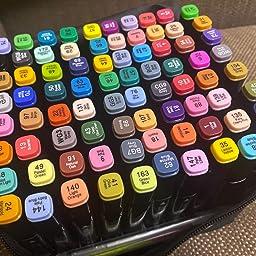 Amazon Co Jp マーカーペン 水彩筆 イラスト マーカー 油性 セット 2種類のペン先 太字 細字 80色 ホビー