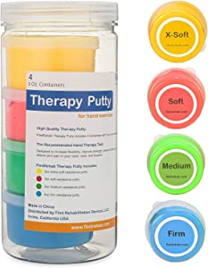 FlintRehab Premium Quality Therapy Putty (4 Pack, 3-oz Each) for Hand Exercise Rehab. Fidgeting, and Stress Relief