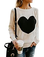Mygoodie Womens Casual Cable Knitted Crewneck Heart Love Oversized Pullover Sweater