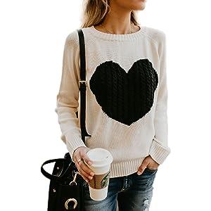 3ec44f1e9cb BARFFARI Womens Casual Cable Knitted Crewneck Heart Love Oversized Pullover  Sweater