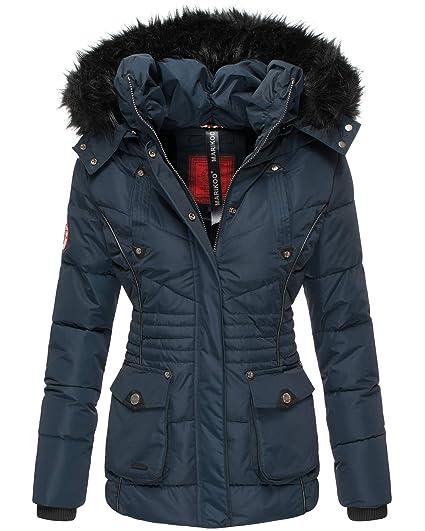 Marikoo Damen Winter Jacke Stepp Parka Mantel Teddyfell warm gefüttert Vanilla XS XXL