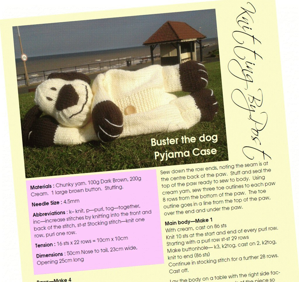Buster the Dog Pyjama Case Knitting Pattern Knitting by Post