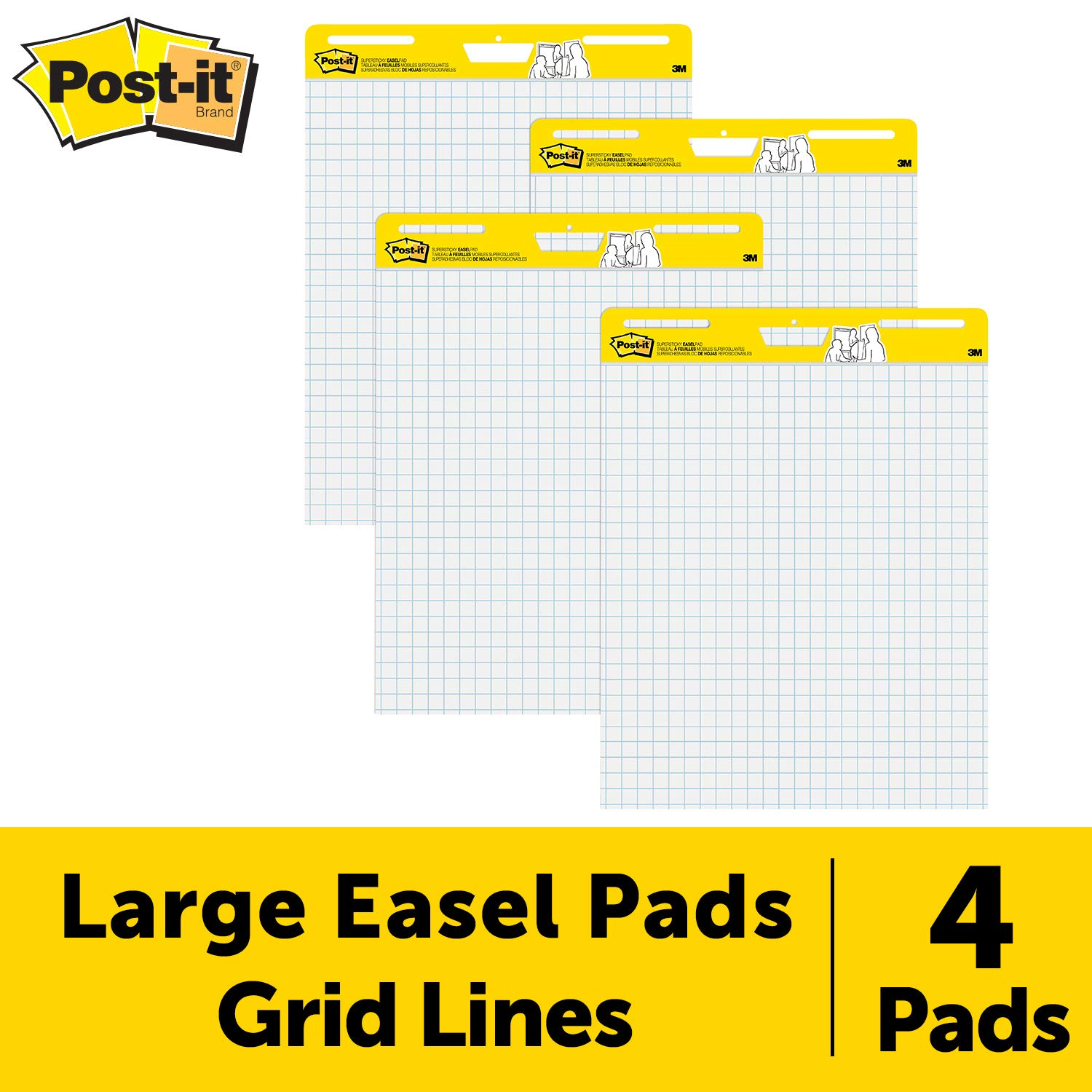 Post-it Easel Pad, 25 in x 30 in, 4 pads per pack, Blue Grid (560 VAD 4PK) by Post-it