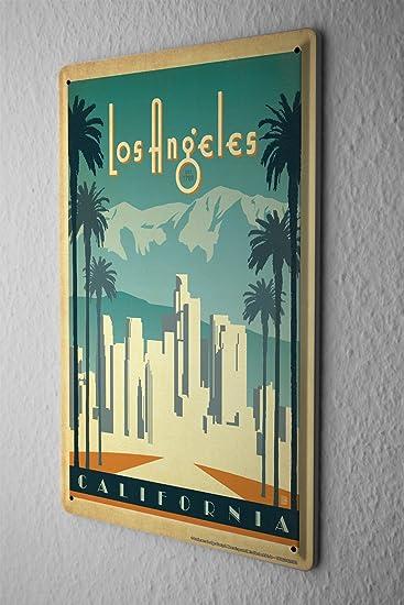 Blechschild Reisen Küchen Deko Los Angeles CA Metall Wand Schild ...