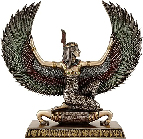 Top Collection Ancient Egyptian Maat Satue – Decorative Egyptian Goddess of Truth and Justice Sculpture in Premium Cold Cast Bronze with Colored Accents – 13.75-Inch Long Collectible Figurine