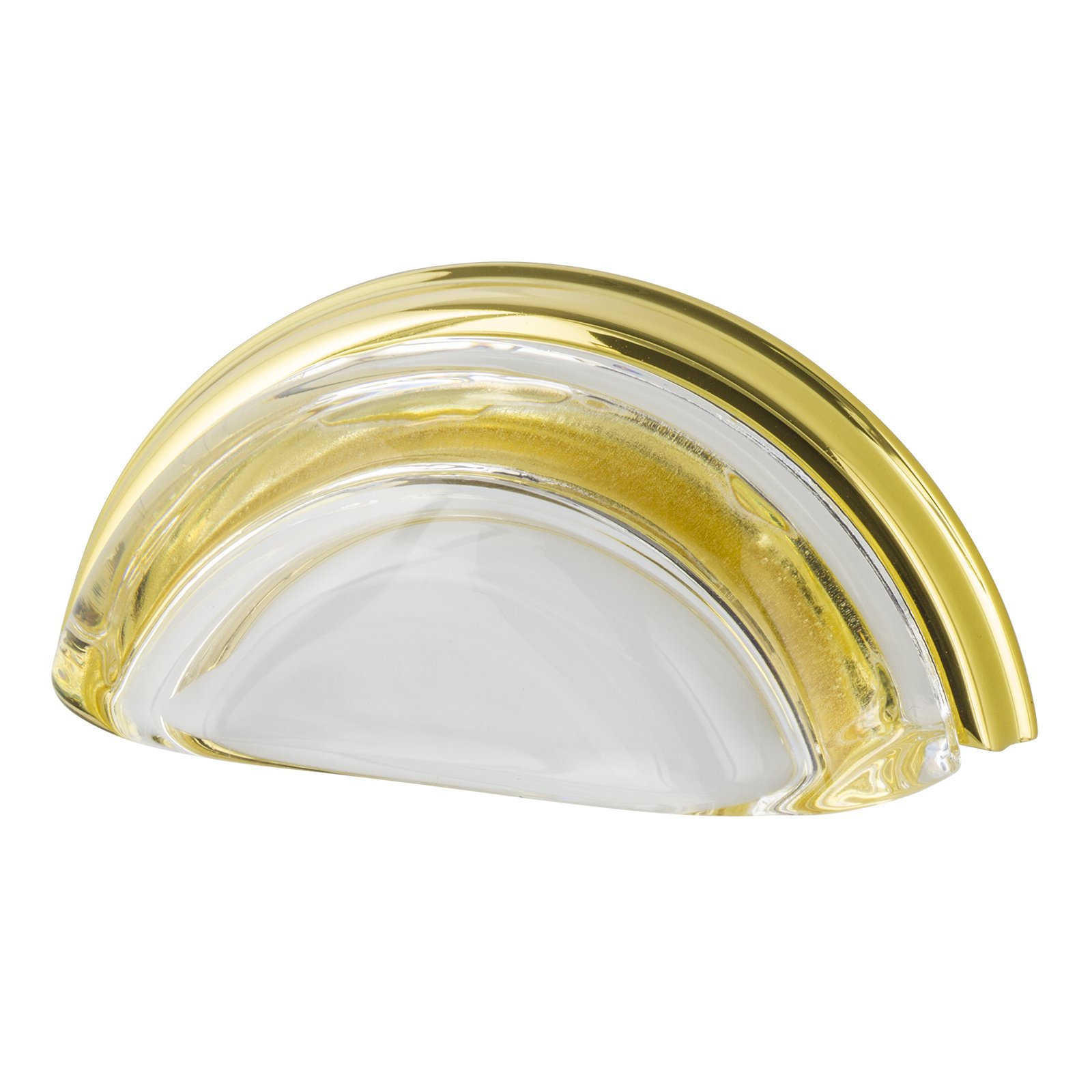 Nostalgic Warehouse 755400 Cup Pull Crystal Clear, 3'' on Center, Polished Brass