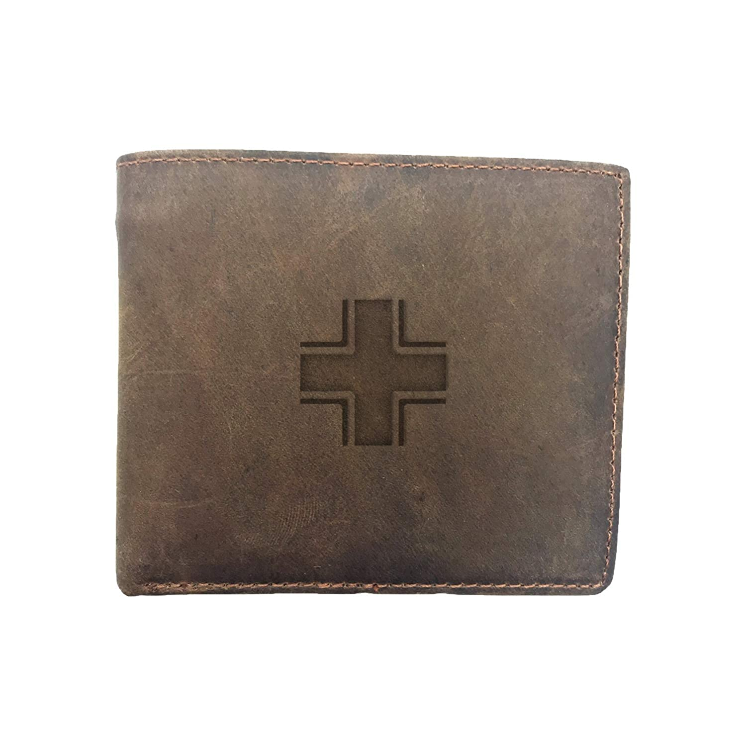 Men - Premium Full Grain Leather Bi-Fold Us Army German Luftwaffe Military Aircraft Ww2 Money Clip Unisex Card Holder Handmade Women Engraved Milk Chocolate