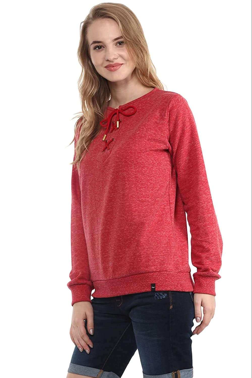 bfc33c8785 THE VANCA Women Red Round Neck Sweatshirt With Tie Up Detail At Neckline  (L)  Amazon.co.uk  Clothing