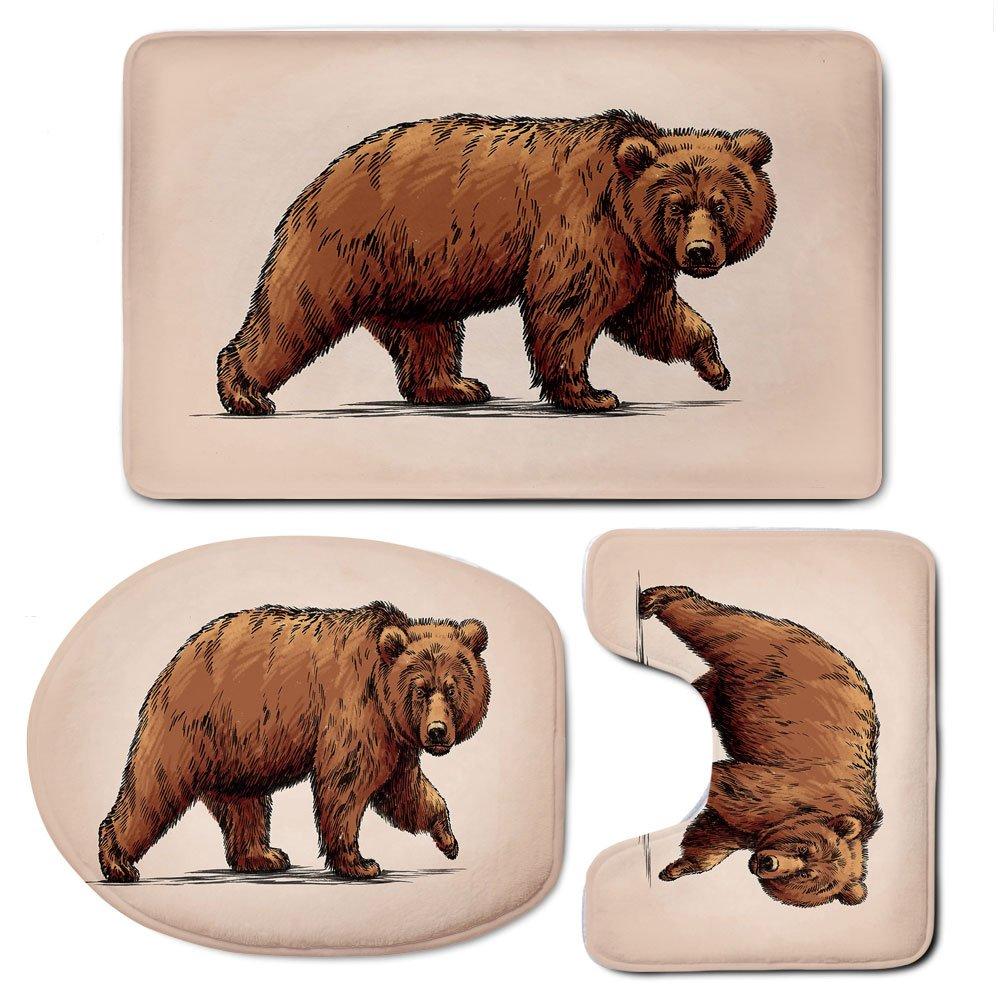 3 Piece Bath Mat Rug Set,Bear,Bathroom Non-Slip Floor Mat,Ink-Drawing-Style-Wildlife-Beast-Carnivore-Figure-Walking-Zoology-Nature-Themed-Art-Decorative,Pedestal Rug + Lid Toilet Cover + Bath Mat,Brow
