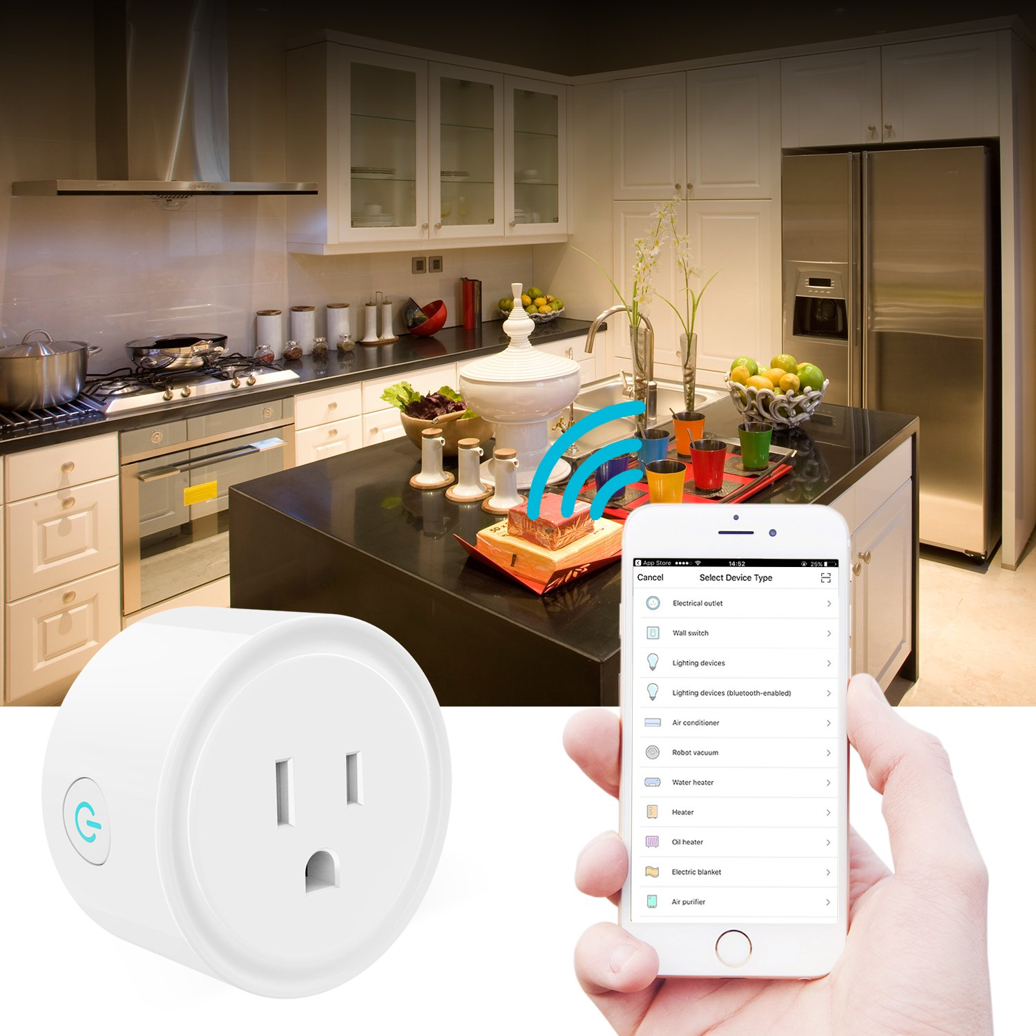 Smart Plug Compatible with Alexa//Google Home//IFTTT No Hub Required Wifi Enabled Smart Outlet 4 Pack Puji Smart Plus US101