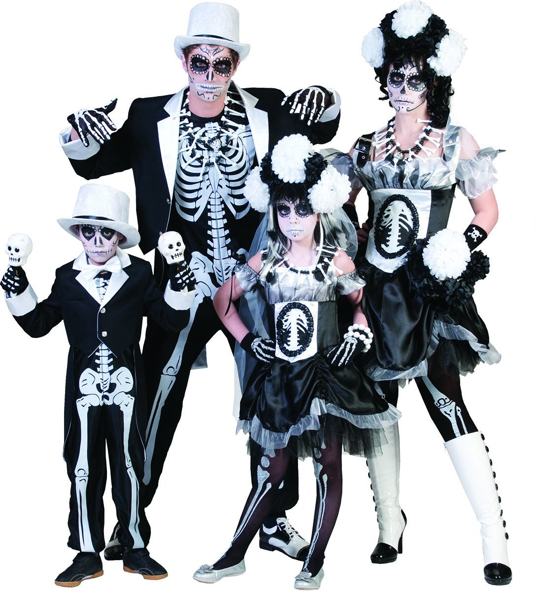 Fancy Ole - - - Herren Männer Halloween Karneval Kostüm Set Skelett Horror-Bräutigam, Sugar Skull, Day of Death, XL, Schwarz 82bc80