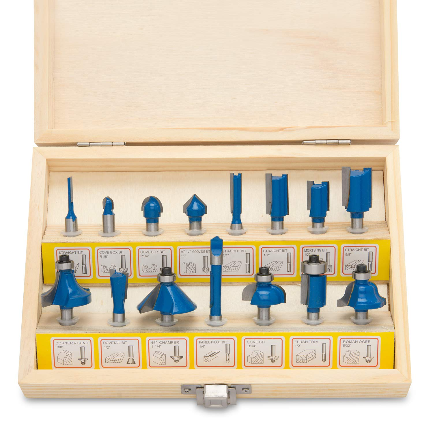 Hiltex 10100 Tungsten Carbide Router Bits | 15-Piece Set
