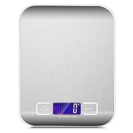 Metalbay Báscula Digital de Cocina Balanza Profesional con Pantalla led Grande Precisión hasta 1g y Resistencia