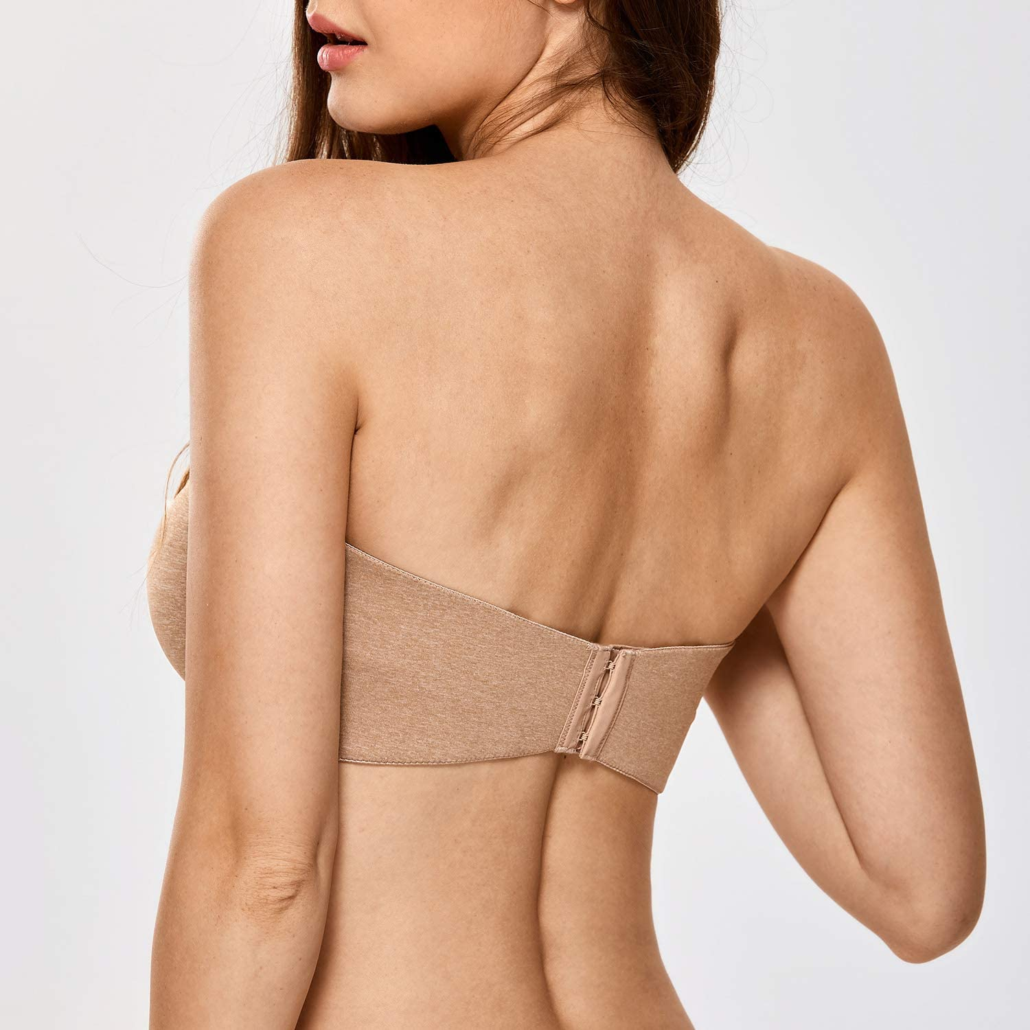 DELIMIRA Womens Non-Padded Underwire Minimizer Support Strapless Bra for Large Bust