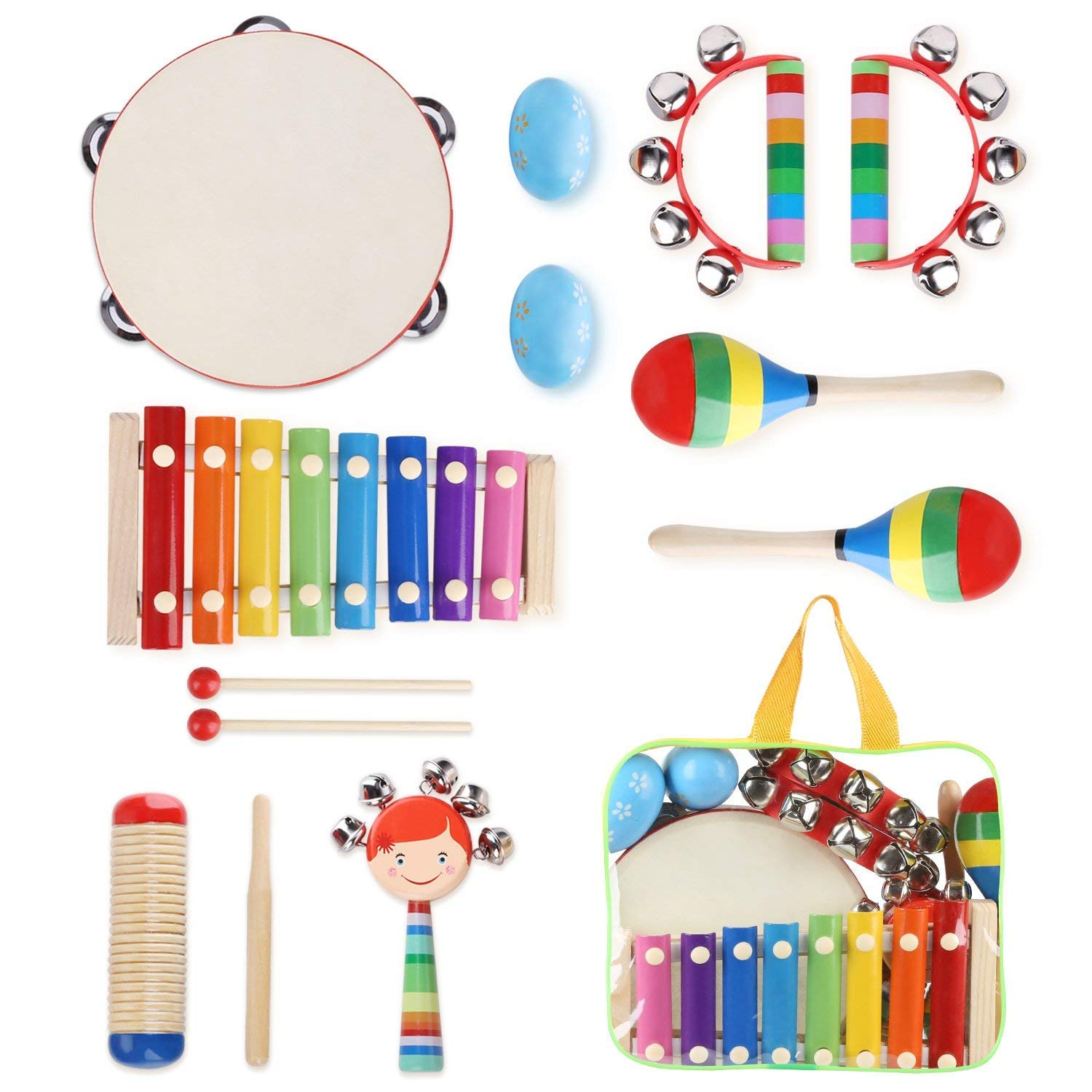 YISSVIC Kids Musical Instruments 12Pcs Toddler Musical Instruments Xylophone Tambourine Set Preschool Educational Toy with Carrying Bag by YISSVIC