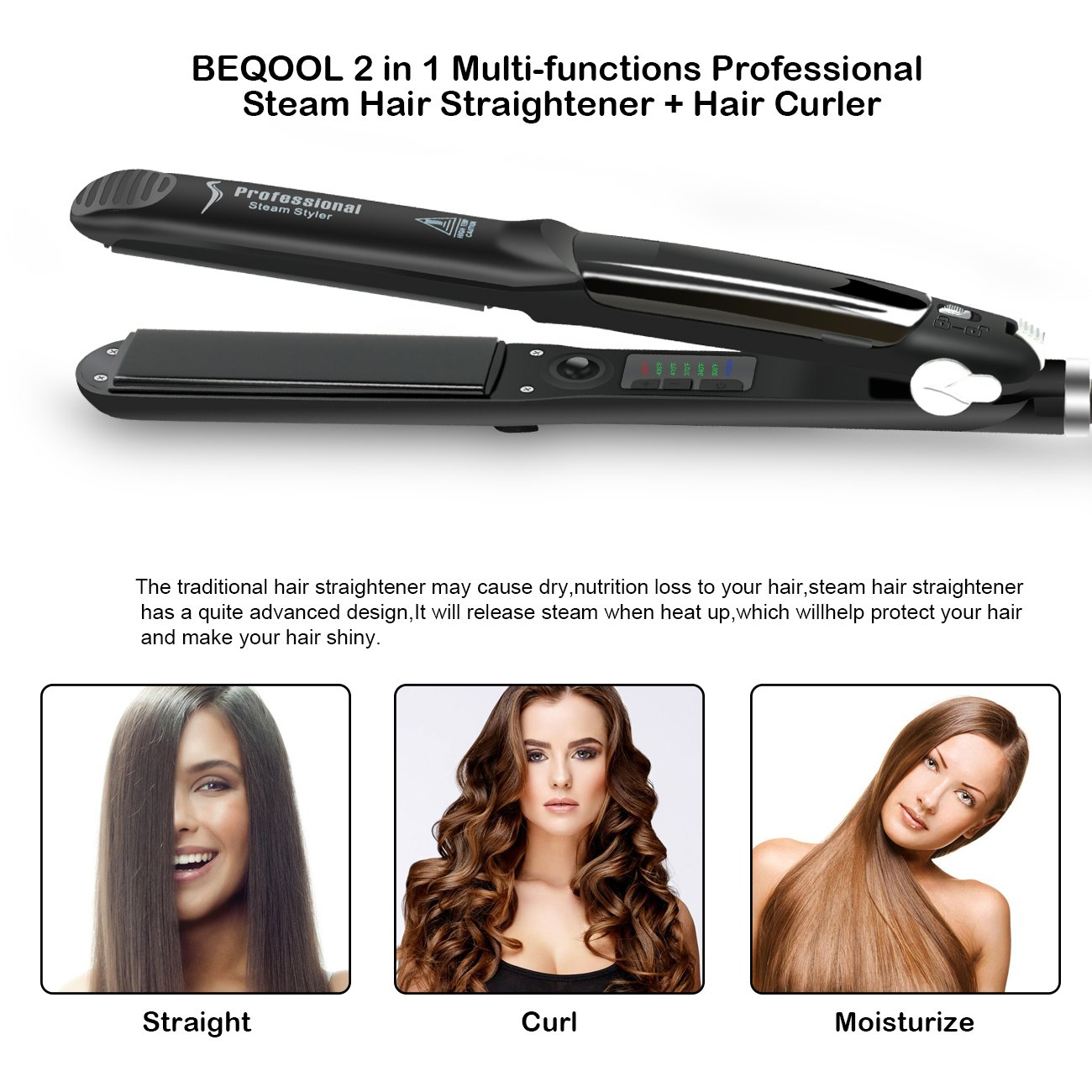 Steam Flat Iron Hair Straightener, Professional Flat Iron for hair with Vapor Heat up Fast, Digital LCD Display,Ionic Ceramic Titanium Plates, Dual Voltage steam hair straightener by BEQOOL (Image #7)