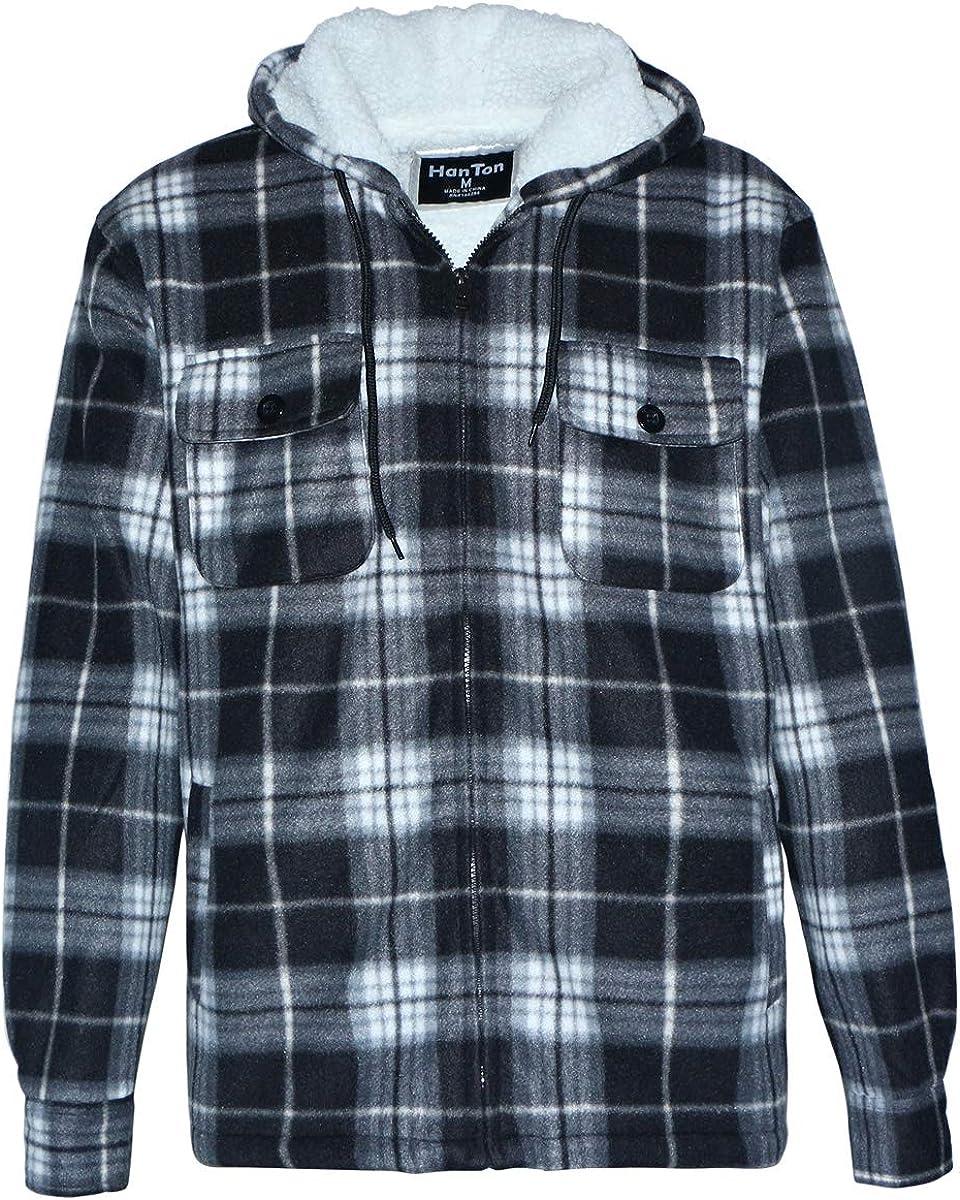 LeeHanTon Mens Sherpa Lined Fleece Zip Up Winter Warm Plaid Flannel Jacket with Hood
