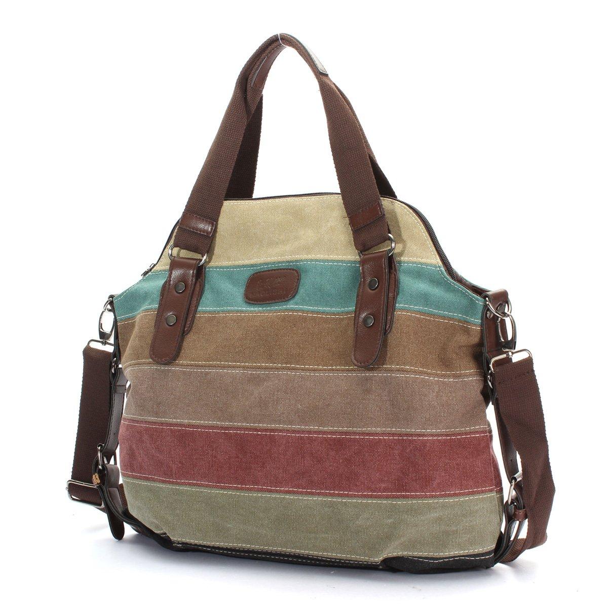 13caf47fe3bf Amazon.com  OURBAG Women Canvas Stripe Handbag Cross body Shoulder Bags Tote  Satchel Messenger Bag Colorful  Clothing