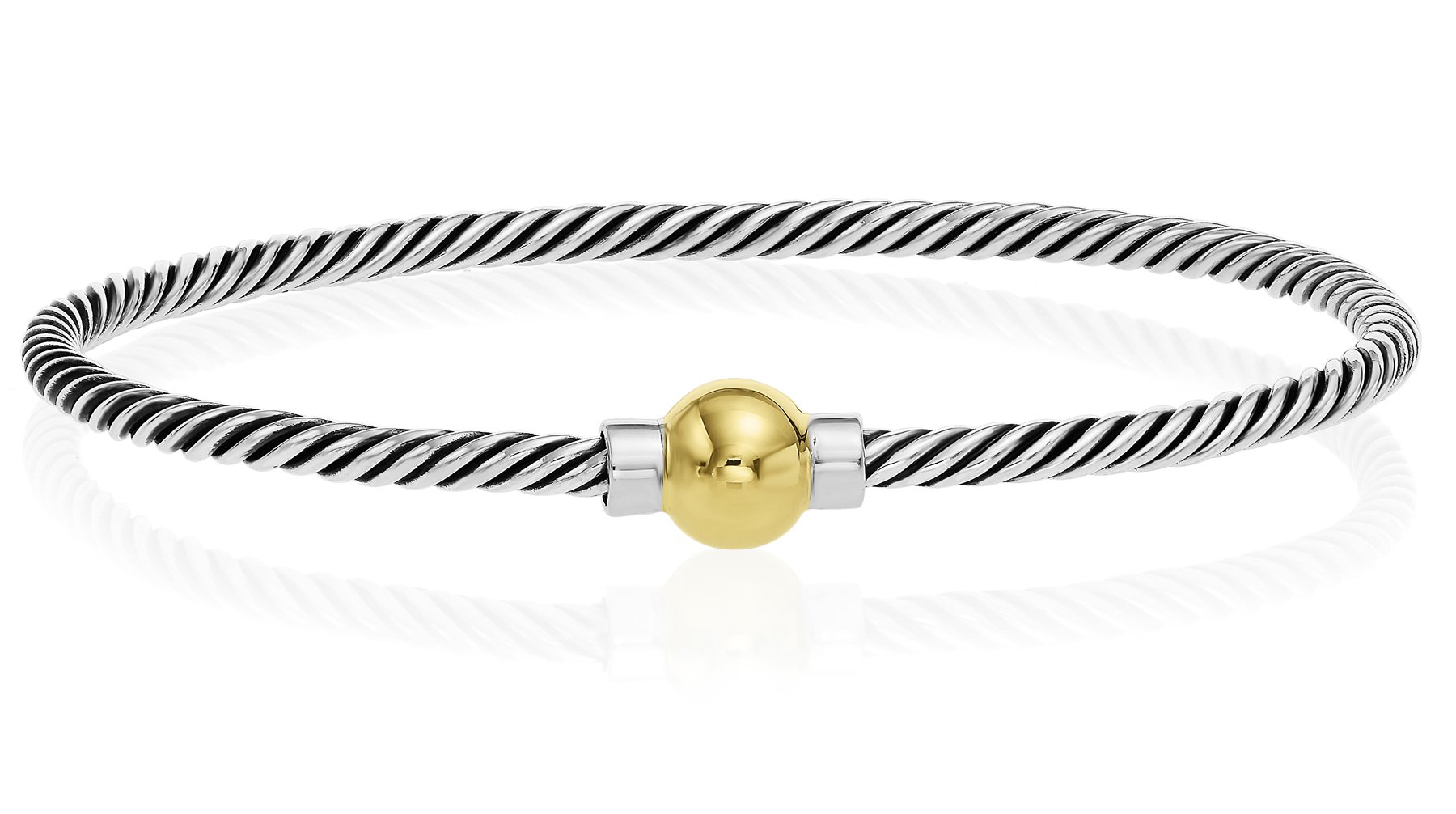Unique Royal Jewelry 925 Sterling Silver, 14k Solid Gold Ball Screw Twisted Bangle Bracelet with Black Rhodium (Size 7)