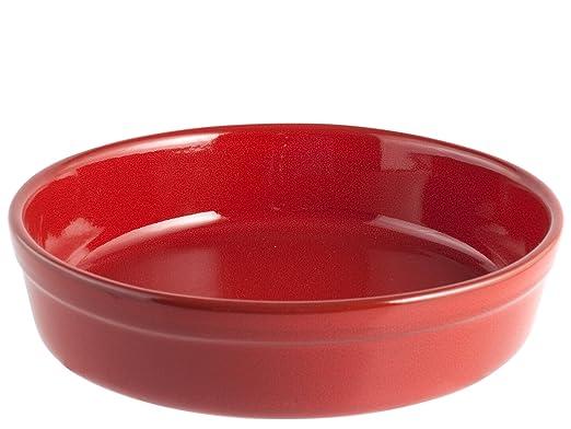 HOME -Fuente Redonda, 25 cm, cerámica, Rojo: Amazon.es: Hogar