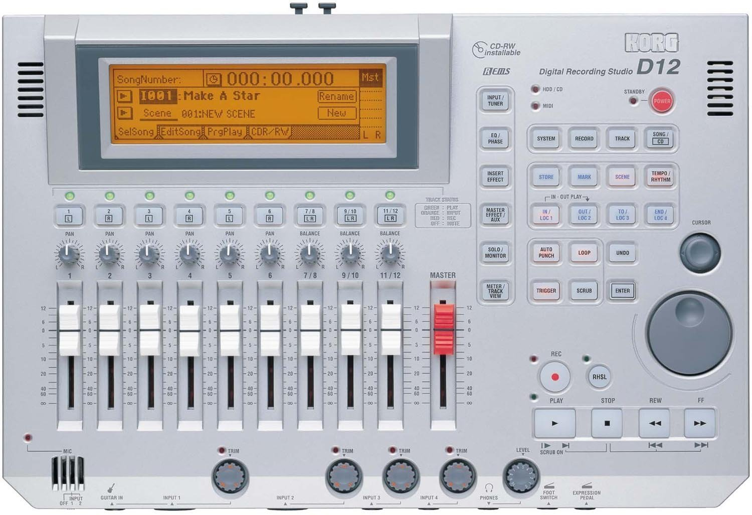 Korg D-12 12 track Digital Audio Multi Track Recorder d1600