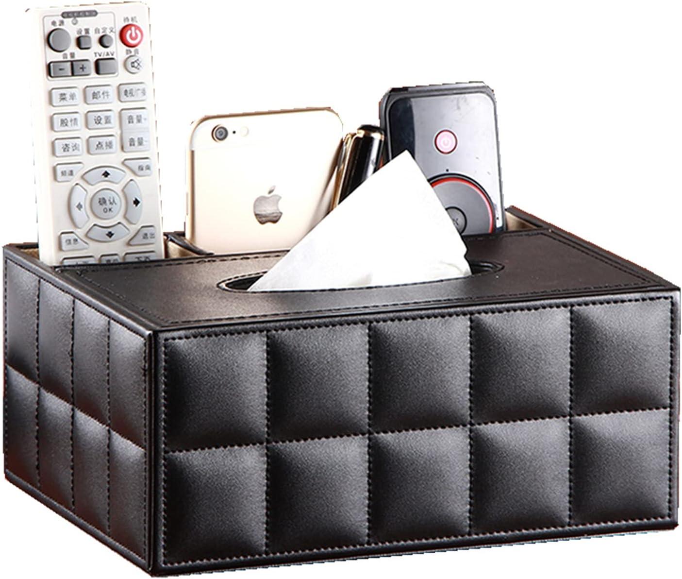 /N SHENGRD Rectangular PU Leather Tissue Box Napkin Holder ,Multifunction Home Office Supplies Decoration Hotel Paper Box Napkin Holder (Black Grid)