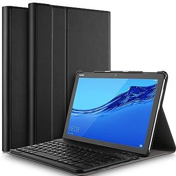 Yocktec Funda Teclado para Huawei Mediapad T5 10.1, Ultra-Delgado Funda/Funda con Soporte para Teclado Bluetooth Desmontable para Huawei Mediapad T5 10.1 ...