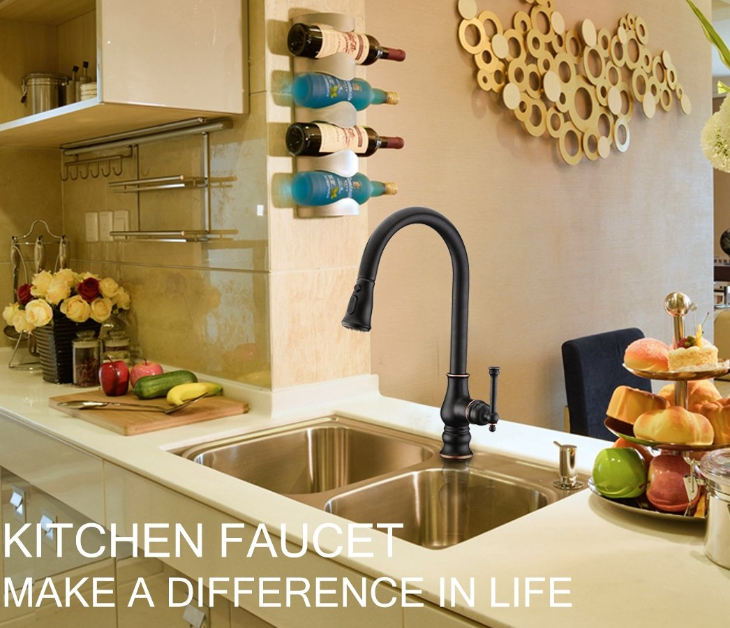 Kitchen Faucet with Pull Out Sprayer Delle Rosa Solid Brass Single Handle High Arc 360 Degree Swivel Pre-rinse Kitchen Sink Faucet Oil Rubbed Bronze by Delle Rosa (Image #8)