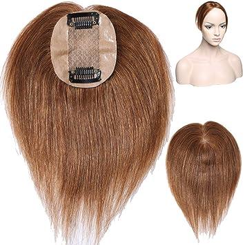 neu billig neu kommen an preiswert kaufen Toupet Handgemachte Mono 100% Echthaar Topper Haarteil Toupet Top Stück für  Frauen 15g #6 Hellbraun